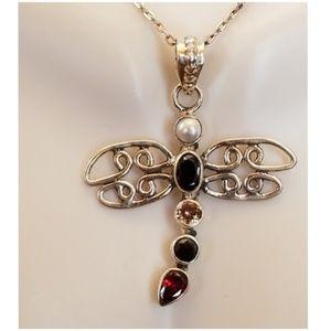 "Jewelry - Mylti-Gem Dragonfly Pendant 1.5"" long"